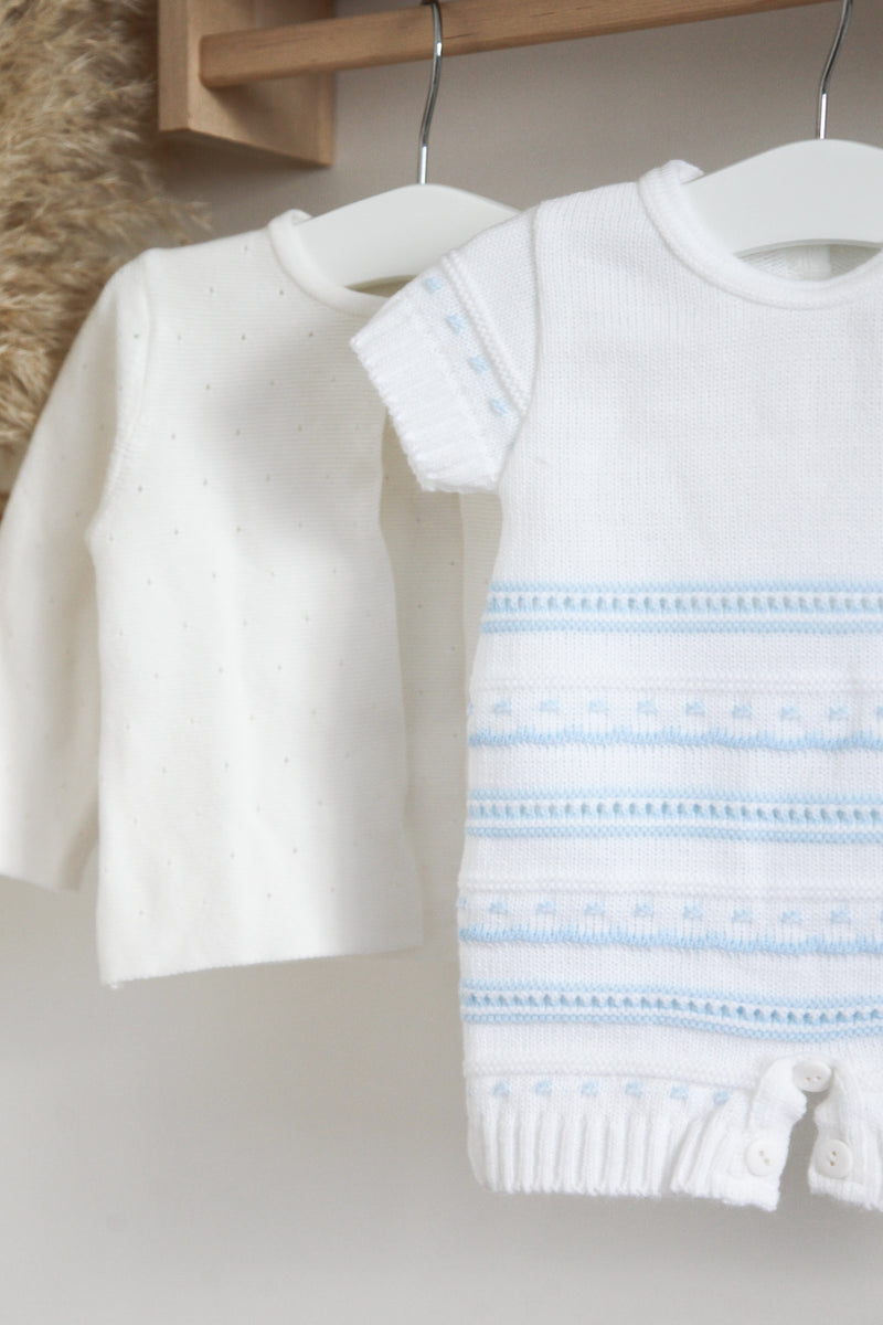 White/Baby Blue Knitted Shorts Romper Traditional Spanish Portugal Knitted Baby Boy Girl Clothes