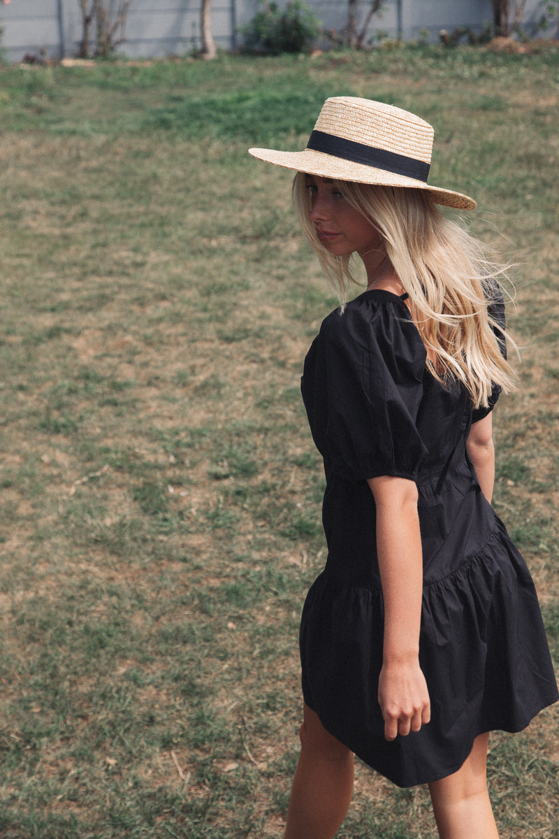 Black Puff Sleeve Tiered Dress