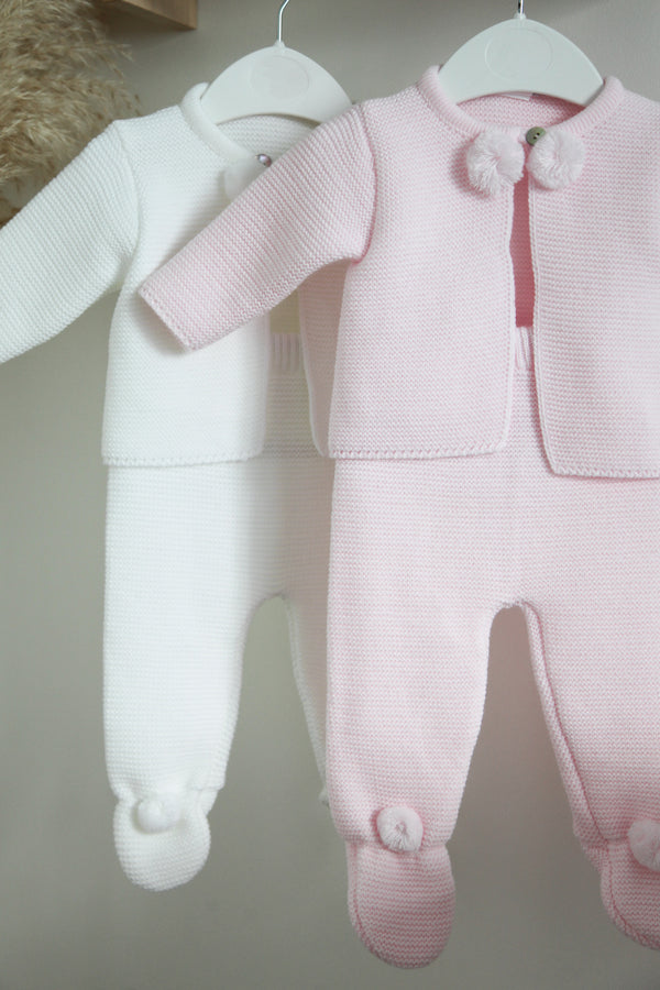 Baby Pink Pom Pom Knitted Two Piece Set