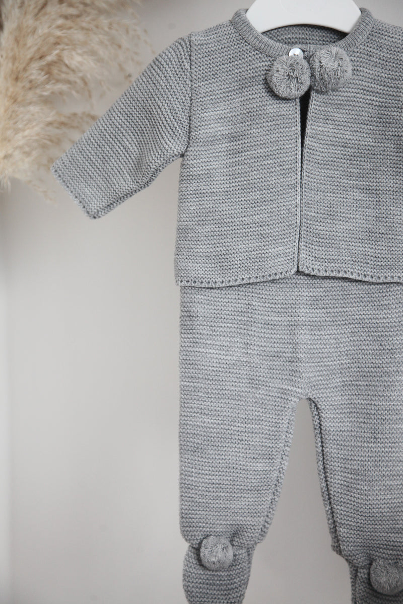 Grey Pom Pom Knitted Two Piece Set