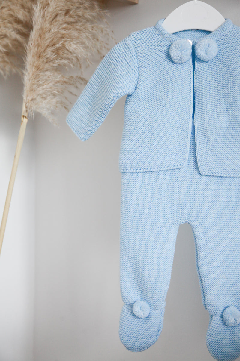Baby Blue Pom Pom Knitted Two Piece Set