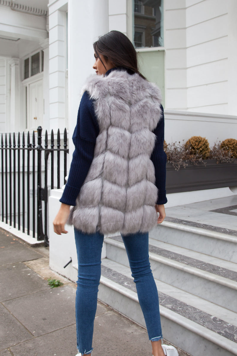 Soho Grey Faux Fur Gilet