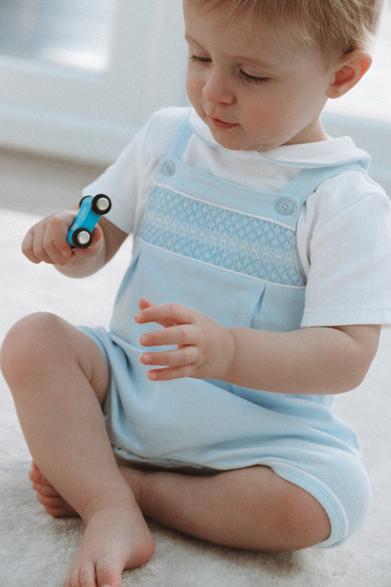 Blue Smocked Cotton Dungarees Romper
