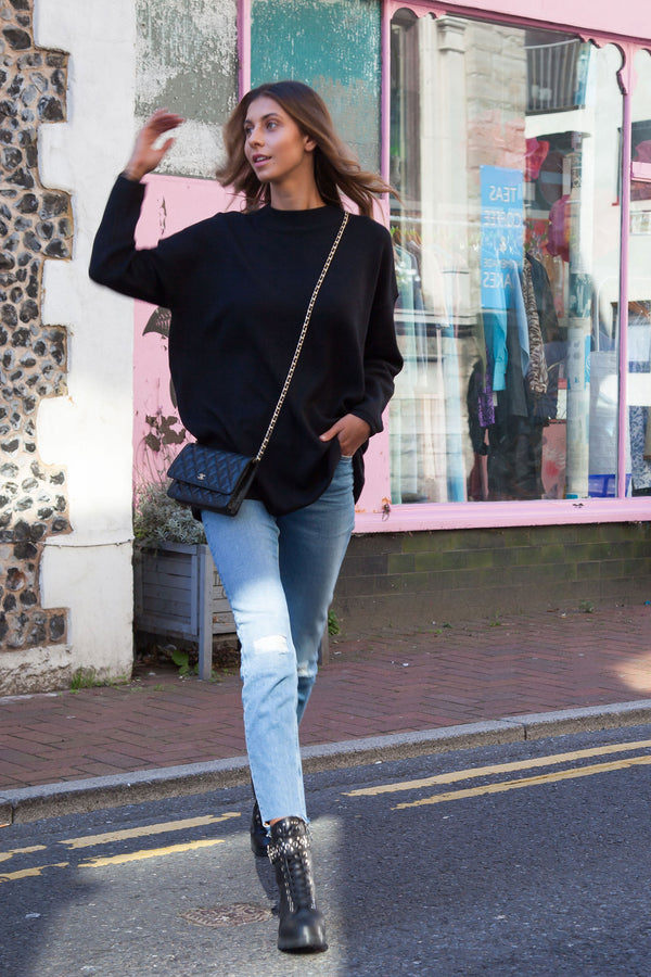 High Neck Longline Knitted Jumper in Black
