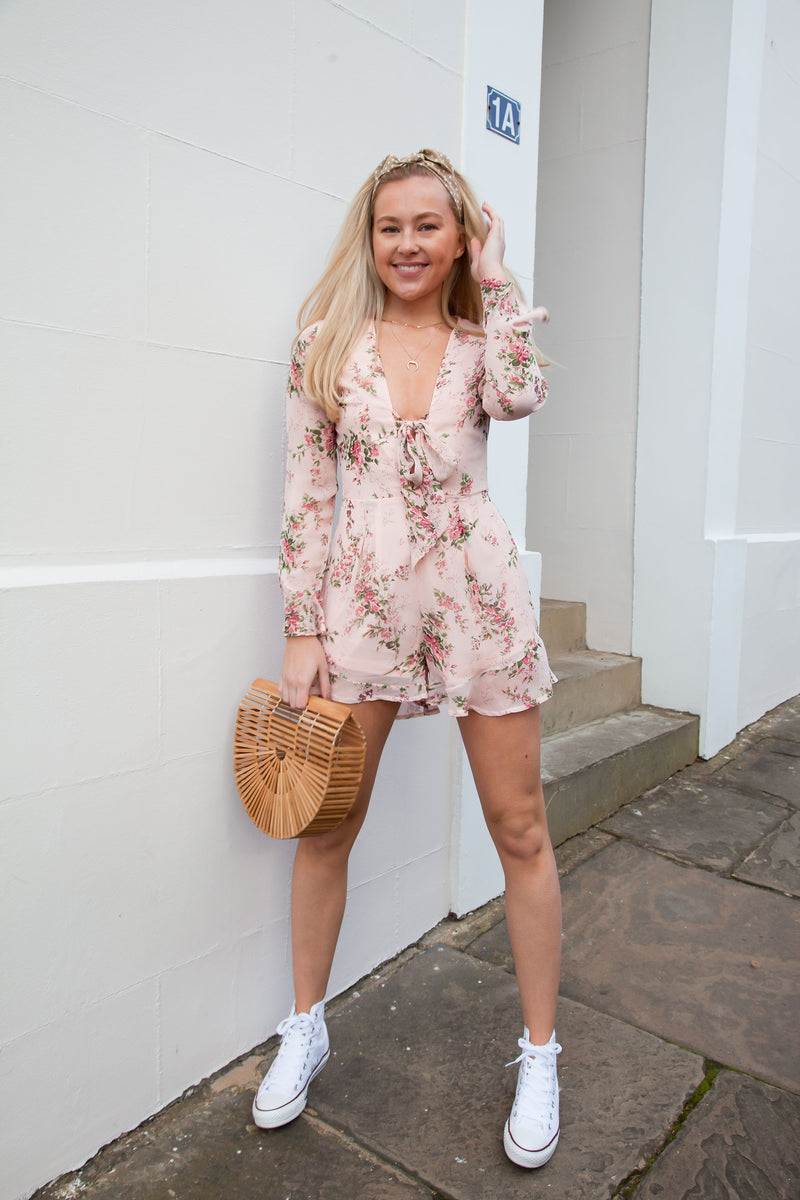 Tie Front Long Sleeve Frill Playsuit