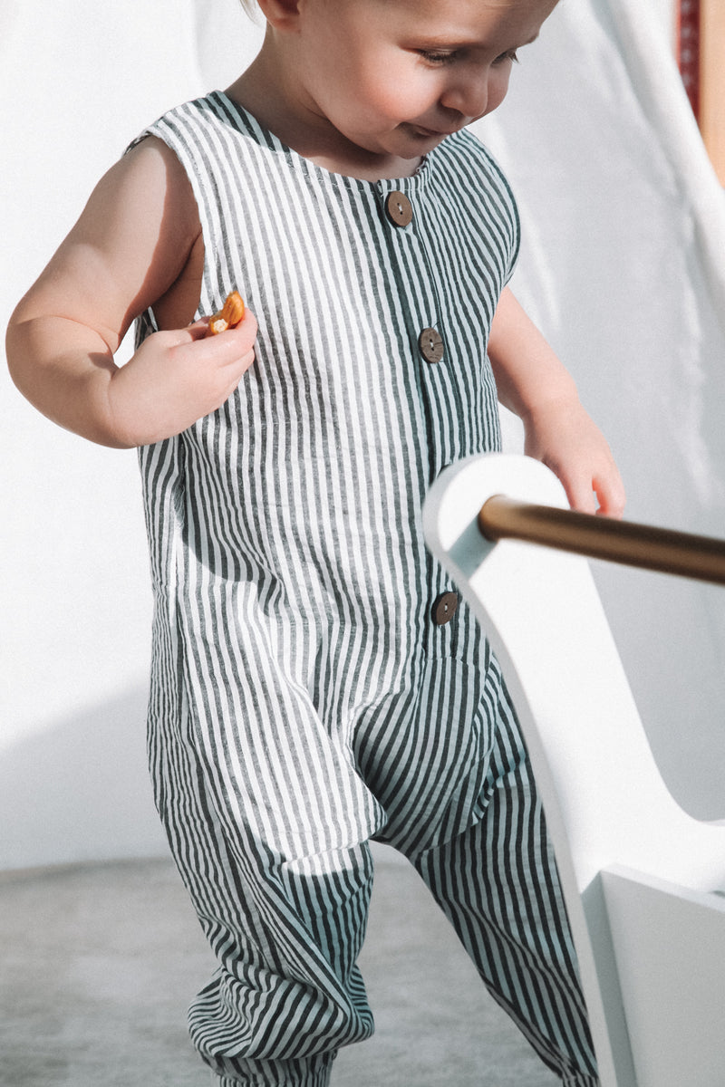 Cotton Stripe Button Down Jumpsuit