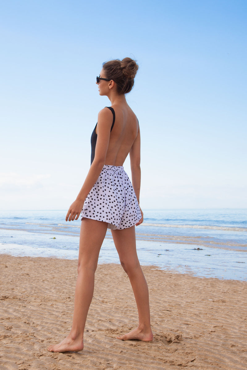 White & Black High Waisted Frill Spot Shorts