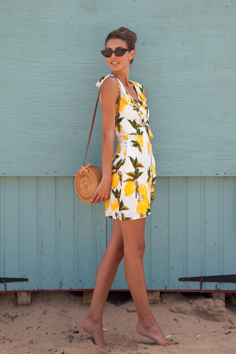 Lemon Print Frill Mini Dress