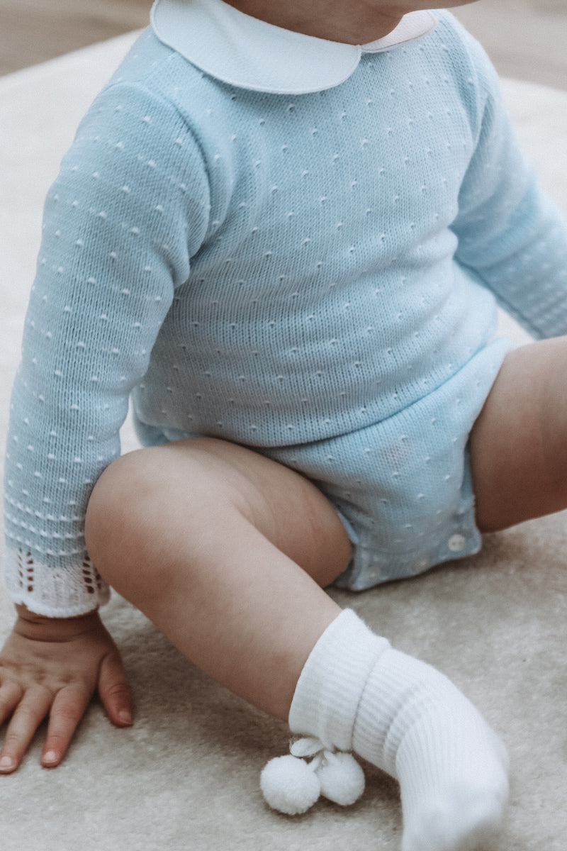 Baby Blue Collared Knitted Dot Romper