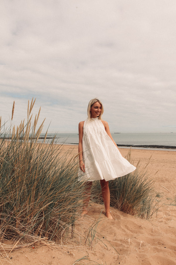 White Halter Oversized Dress