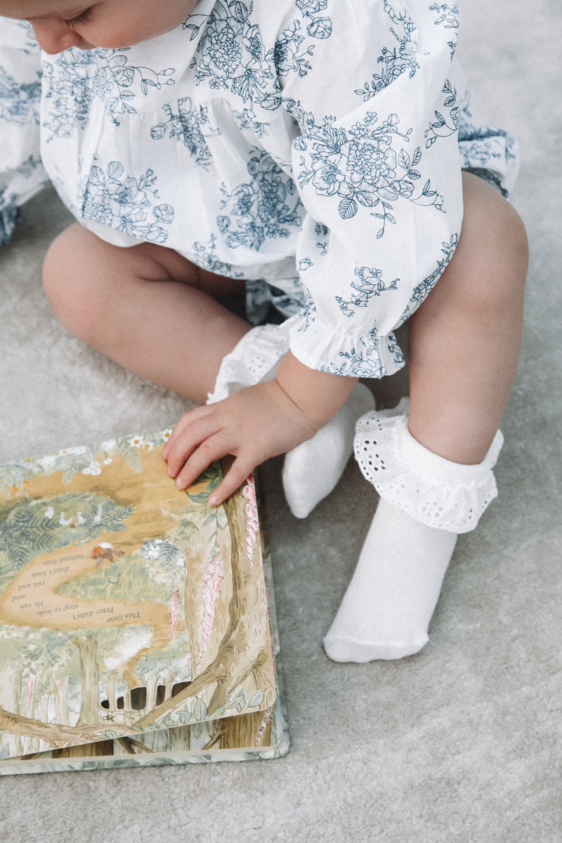 White Blue Dainty Floral Romper (and bonnet)
