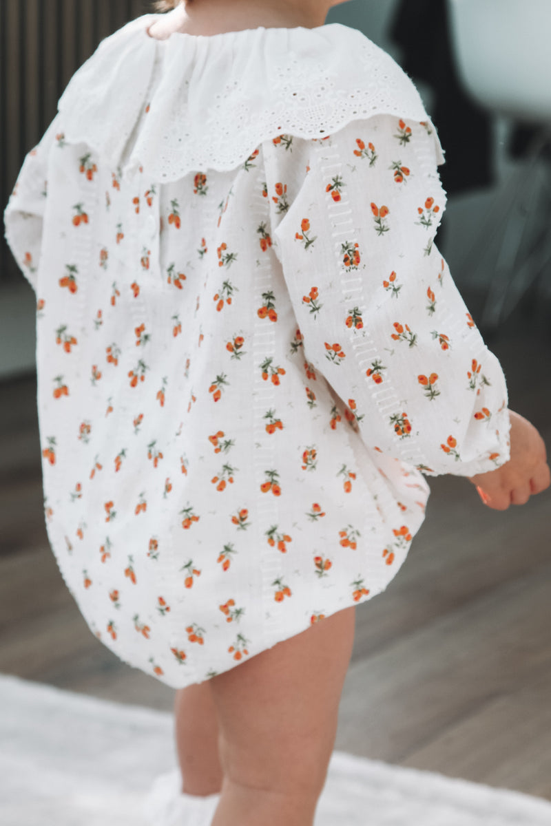 White Orange Ditsy Floral Romper (and bonnet)