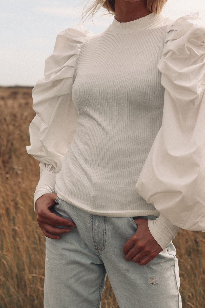 Oversized Puff Sleeve Knit Top in White