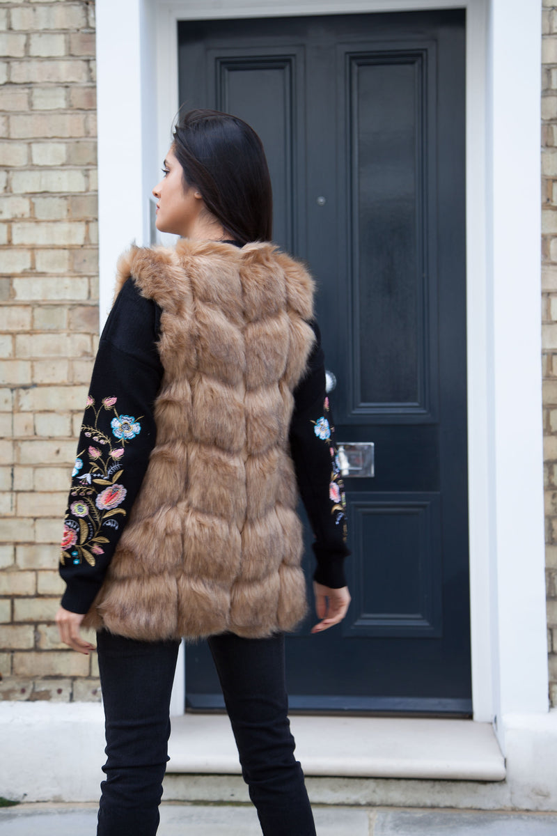 Styled in London Website, Styled in London Clothes, Celebrity Clothing, Soft Beige, Light Brown Padded Faux Fur Gilet Jacket, Fake Fur Coat, Jacket, Padded Gilet