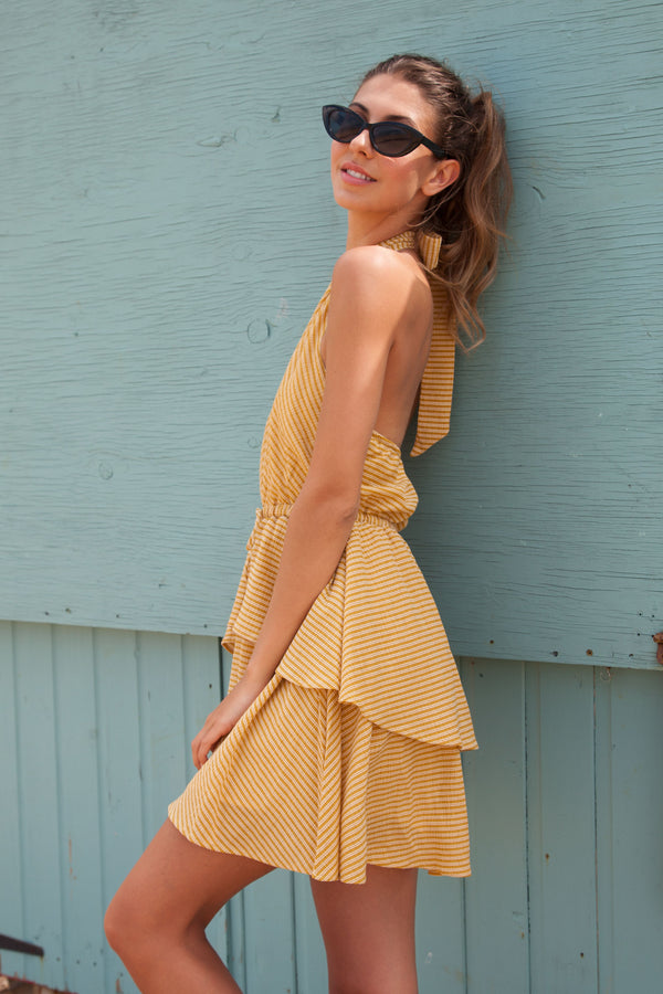 Portofino Halter Mustard Stripe Skater Dress