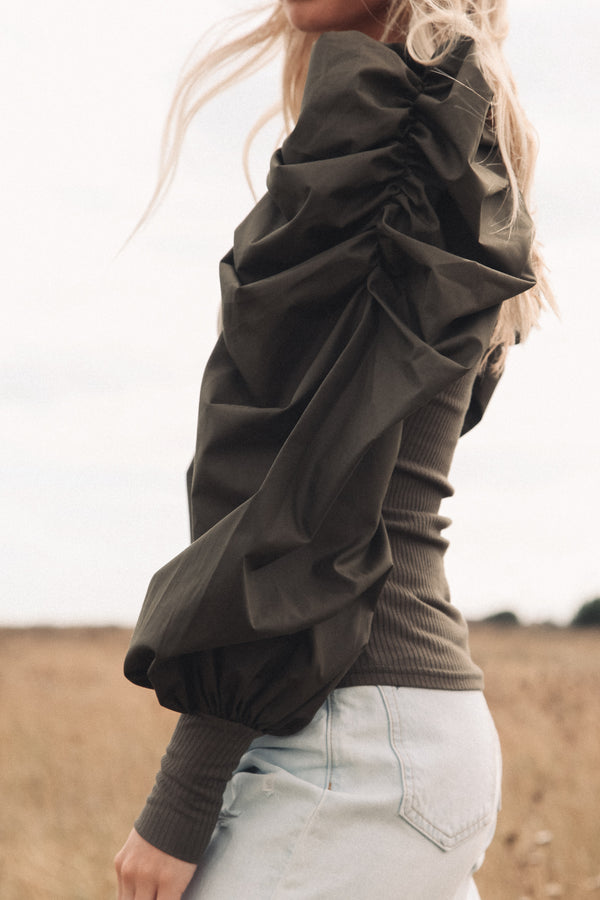 Oversized Puff Sleeve Knit Top in Khaki