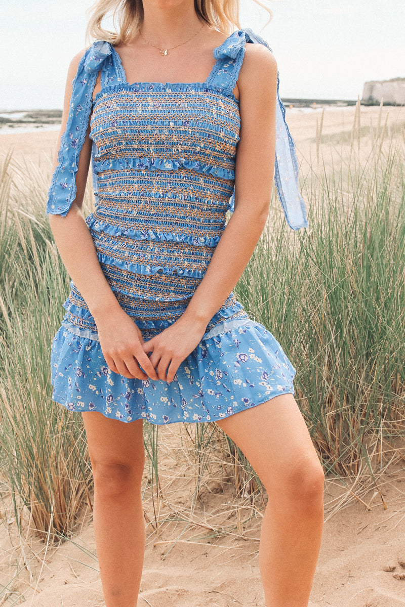 Multi Blue Shirred Mini Dress