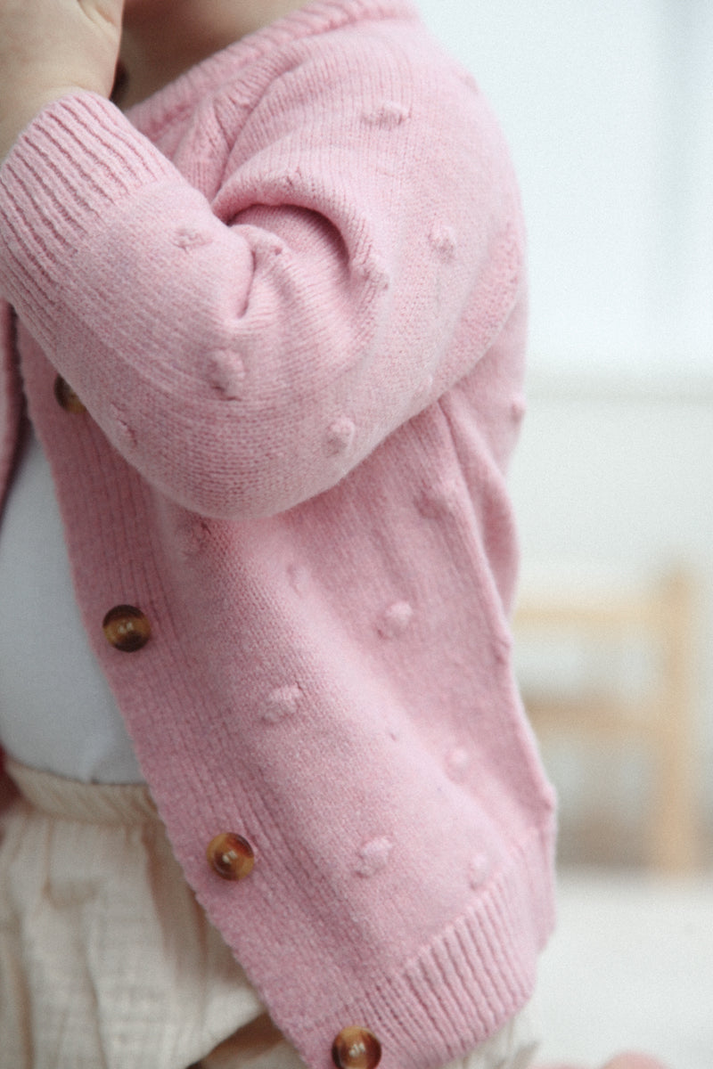 Soft Pink Bobble Cardigan