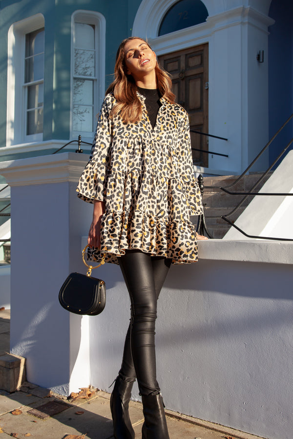 Leopard Bell Sleeve Smock Dress