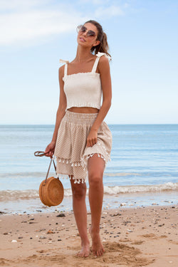 Tassel Hem Layered Frill Skirt in Beige Stripe