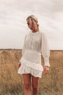 White Cotton Long Sleeve Mini Ruffle Dress