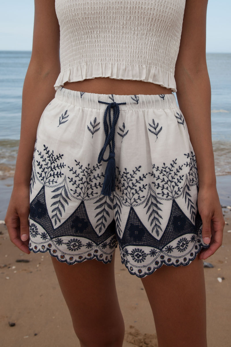 Embroidered Cotton Shorts in White/Navy