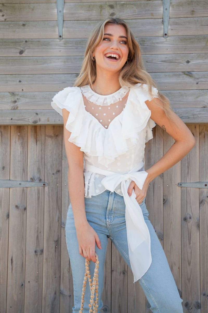 White Mesh Spot Frill Top