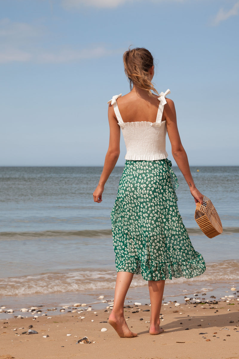 Green Floral Frill Wrap Midi Skirt