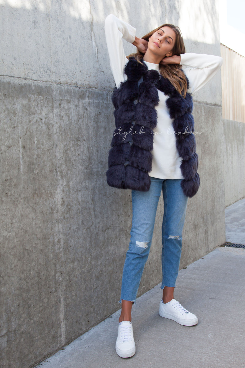 Soho Navy Faux Fur Panelled Gilet