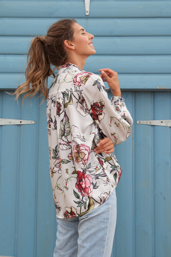 Floral Long Sleeve Satin Blouse