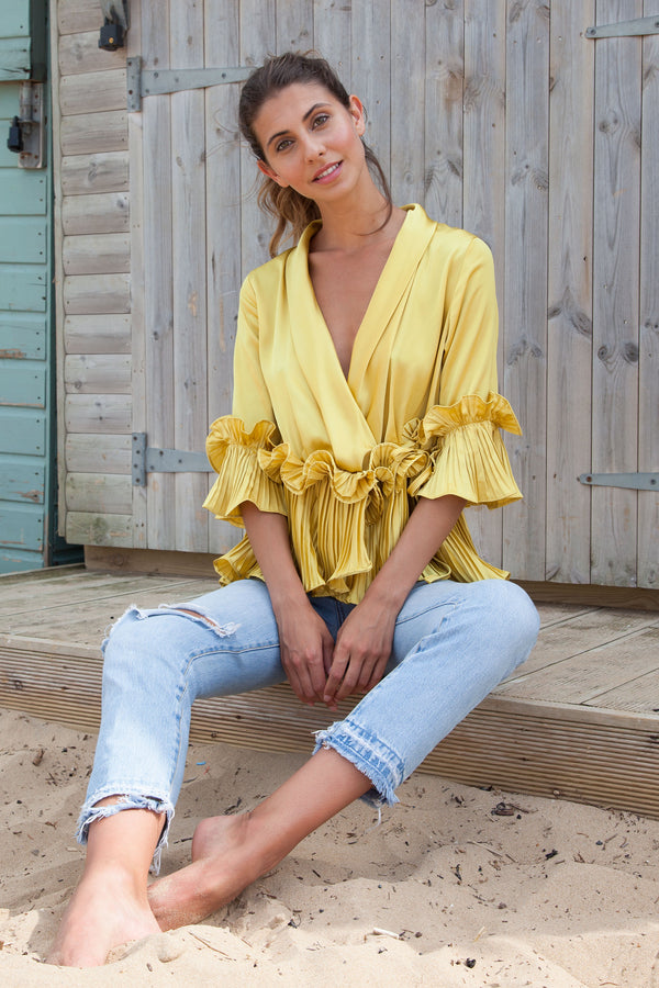 Silky Satin Ruffle Wrap Blouse in Mustard