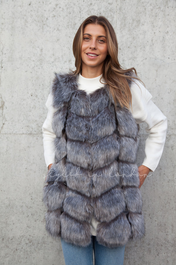 Soho Silver Grey Faux Fur Panelled Gilet