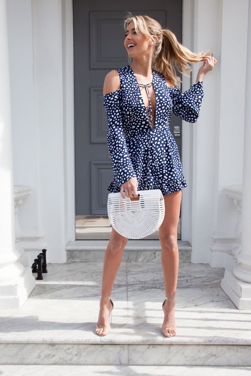 Piper Long Sleeve Playsuit in Navy Spot