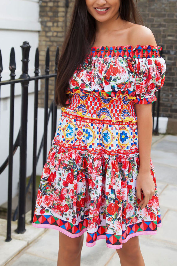 Off Shoulder Printed Dress in Red Rose/Multi