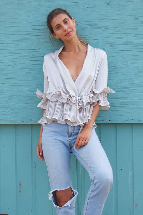 Silky Satin Ruffle Wrap Blouse in Silver Grey