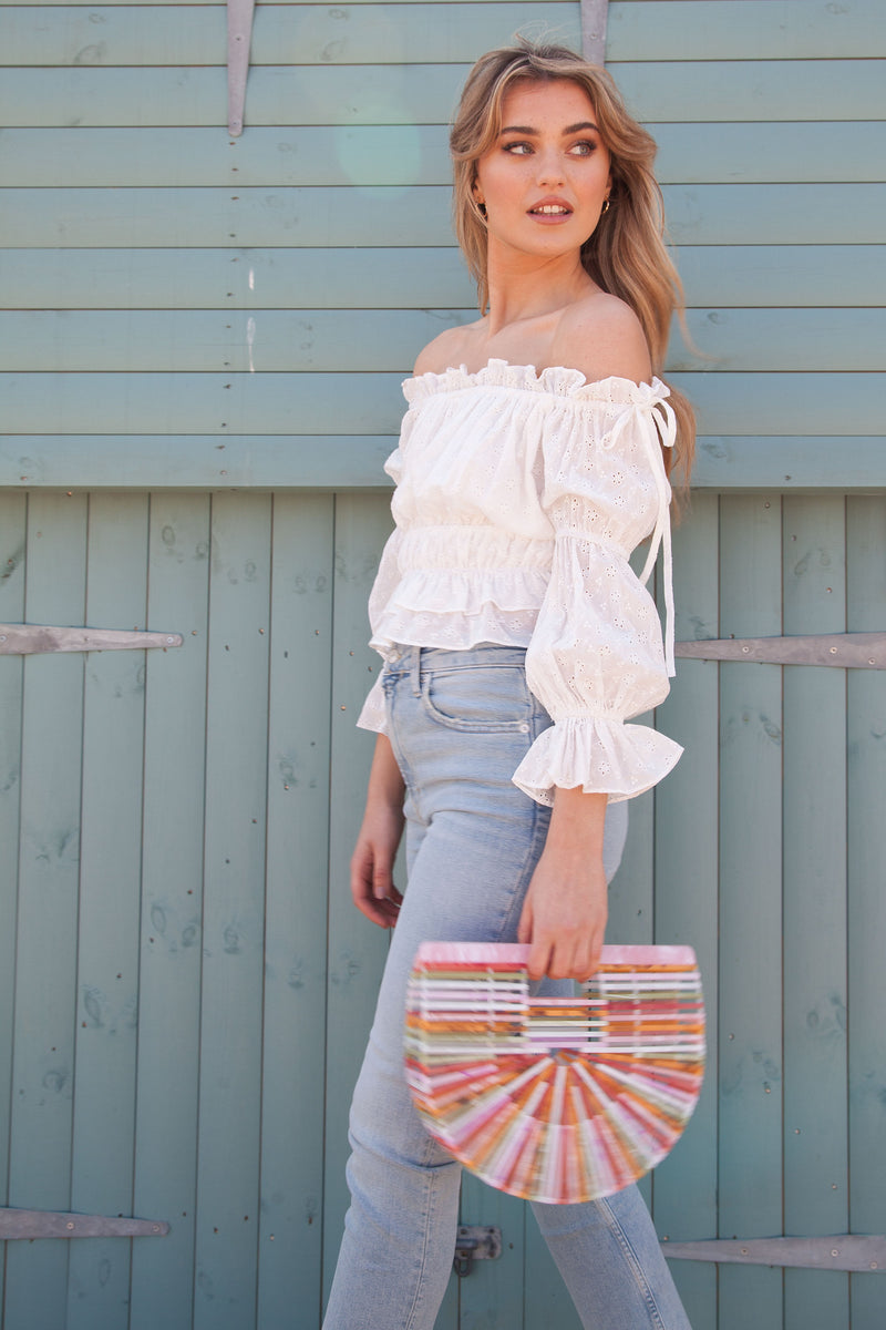 White Broderie Off The Shoulder Crop Top