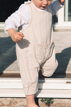 Beige Linen Pocket Jumpsuit