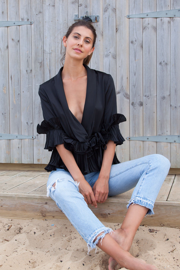 Silky Satin Ruffle Wrap Blouse in Black