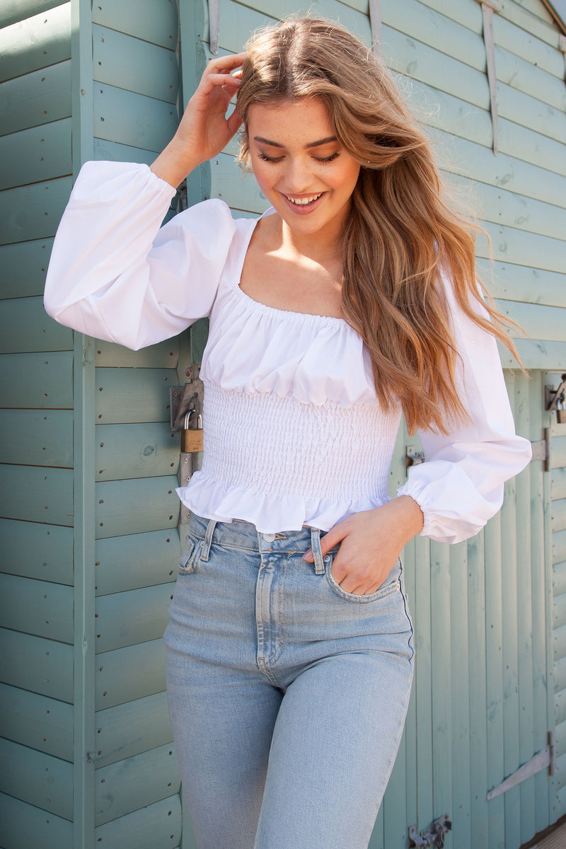 White Elastic Shirred Long Sleeve Crop Top