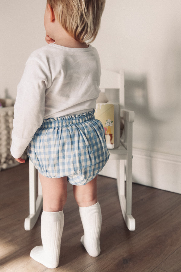 Cotton Blue Gingham Bloomers (and bonnet)