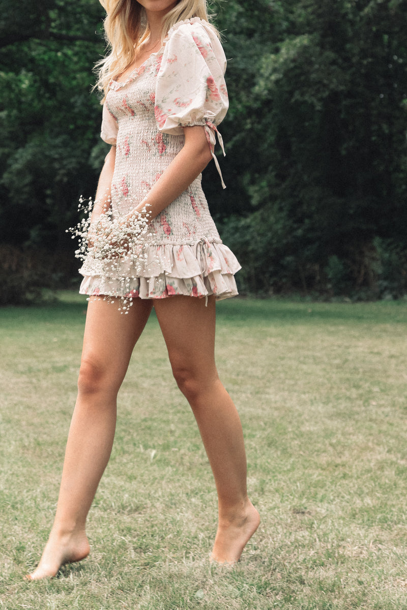 Floral Shirred Mini Dress