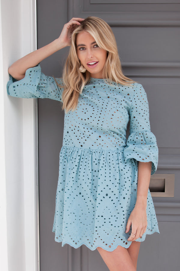 Broderie Cotton Dress in Dusky Blue