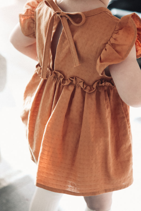 Minnie and Monty Clothing Copper Cotton Frill Dress