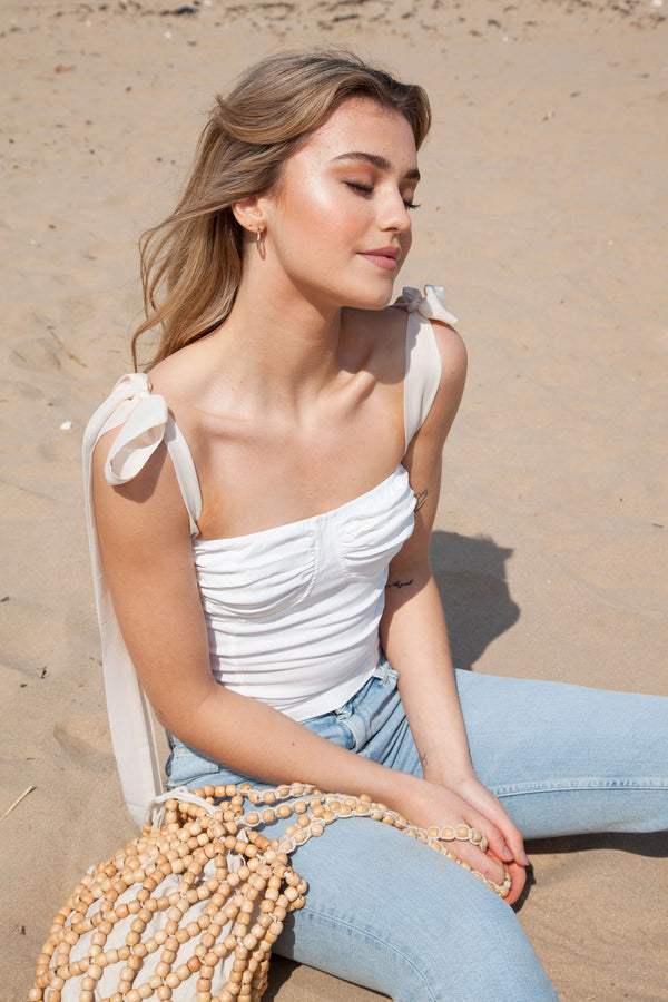 White/Nude Bustier Bow Shoulder Crop Top