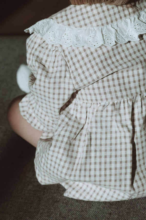 Beige Gingham Broderie Collar Romper Dress