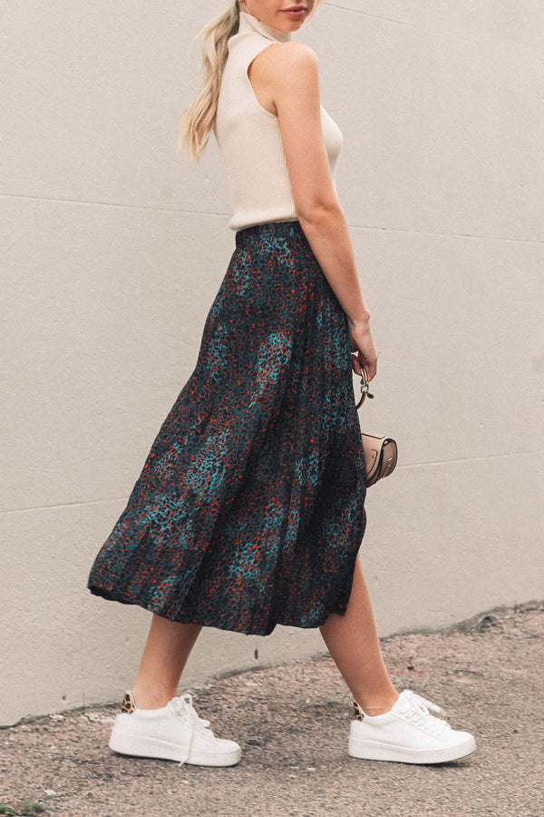 Green Leopard Pleated Midi Skirt