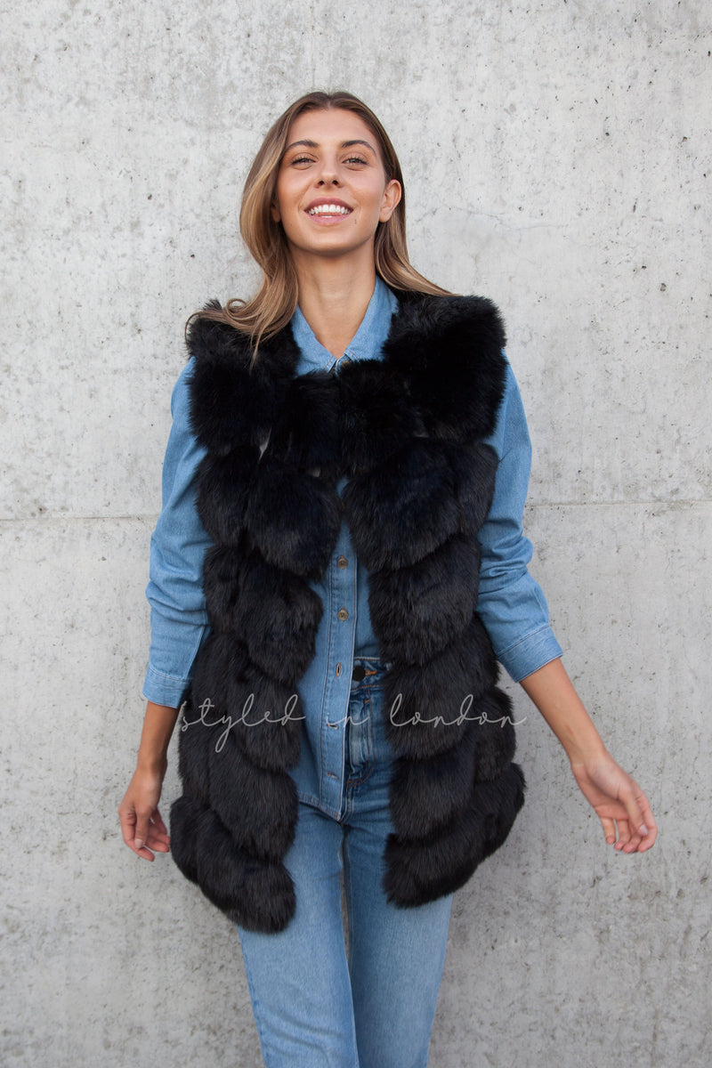 Soho Black Faux Fur Panelled Gilet