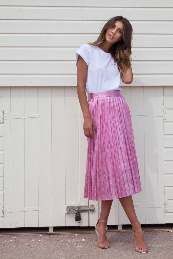 Pale Pink Heart Pleated Midi Skirt
