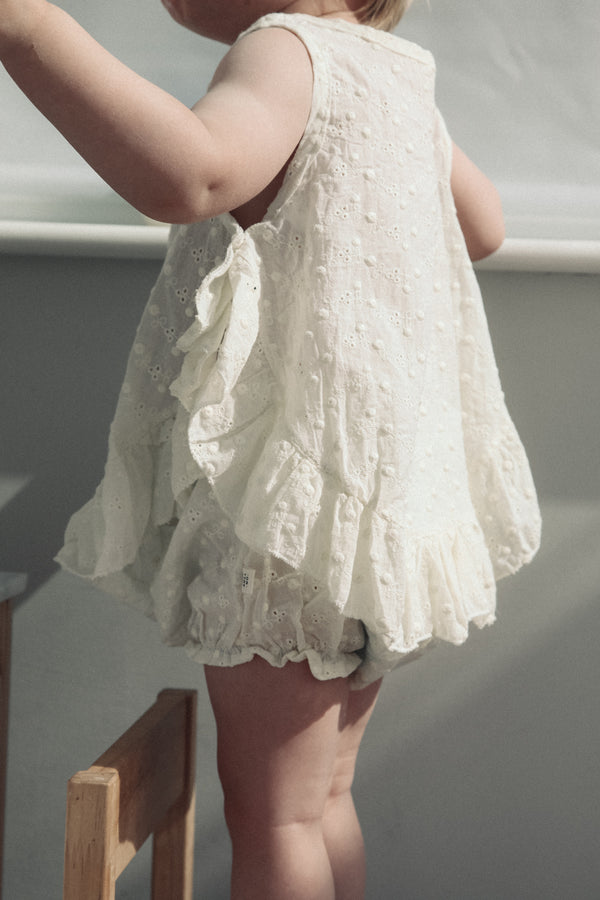 Cream Broderie Lace Top & Bloomers Set (and bonnet)