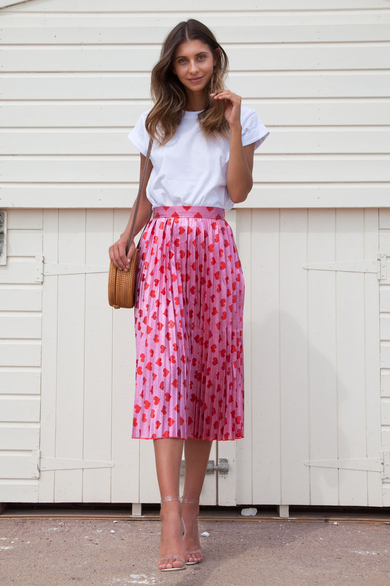 Red Pink Shimmer Heart Pleated Midi Skirt